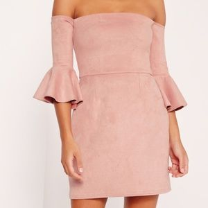 Missguided Pink Faux Suede Off the Shoulder Dress